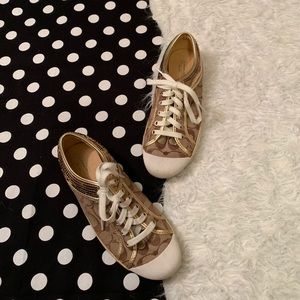 Gold coach shoes size 9 sequin sneakers